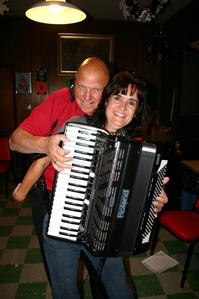 Forgotten Buffalo Orchestra member Ted Kania, always willing to strap on an accordian for the ladies.
