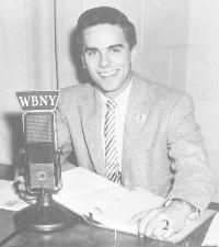 A young Daffy Dan Neaverth, seen here behind a WBNY microphone, was part of the pioneer top 40 staff at WBNY. He joined the WKBW staff in early 1958 before the official switch in format