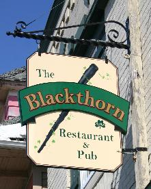 "The Blackthorn, 2134 Seneca St., 825-9327. One of the posher bars, with brass and carved wood serves corned beef sandwiches and stew. Should traditional Irish fare fail to excite, check out the ""Abbott-Road"" hot wings."