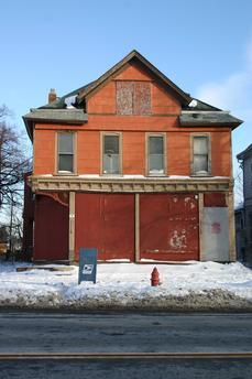 595 Fillmore Avenue: This significant structure began as a samll house; expanded in frame and brick by Joseph Jankowski from 1893-1907 for his residence, confectionary store and cigar factory. This building is VACANT and at EXTREME RISK.