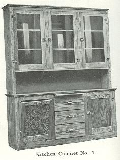 Kitchen cabinet #1 taken from the 1920 Bennett Catalog. Compare to 2006 picture at right.
