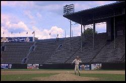 Image from film: Roy Hobbs shows off his pitching skills at the Rockpile