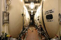 Shhh... Beer sleeping. Aging tanks filled with Utica Club and Saranac.