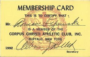 Vintage Athletic Club membership card that once belonged to Roman Lipinski, the Grandfather of Forgotten Buffalo's Marty Biniasz