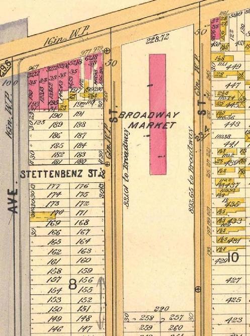 "1894 Ward Map of Market area. Note size of building and the amount of ""marketplace"" area."