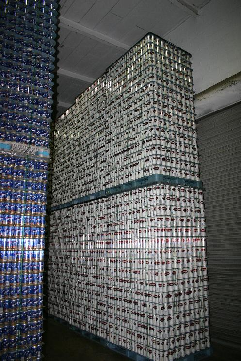 A two story wall of Genesee cans