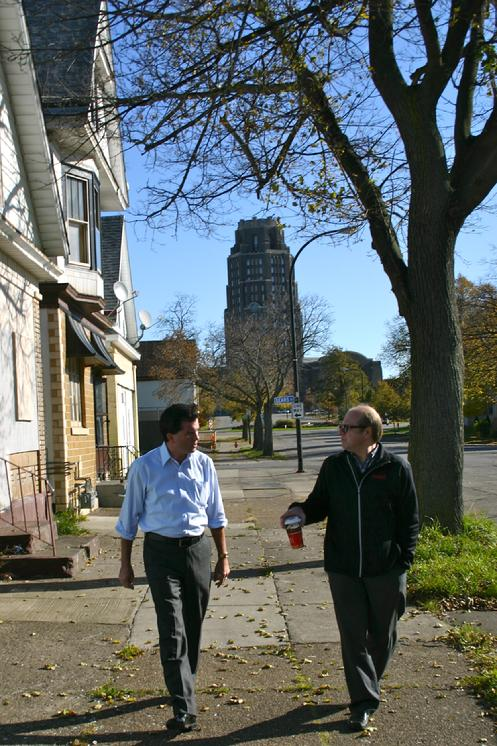 On Saturday, November 5, 2011, State Senator Mark Grisanti  (R-NYS 60th) toured Buffalo�s Historic Polonia District at the request of the non-profit Despensata Corporation (http://www.forgottenbuffalo.com/despensatacorporation.html),. The two-hour walk down Fillmore Ave, Broadway and Paderewski Drive included stops at the Broadway Market & Central Terminal to meet individuals working on the district�s reinvention. Grisanti was joined by Despensata�s Eddy Dobosiewicz and Marty Biniasz along with Paul Lang, Board Member & Chairman of the Architecture Advisory Committee at the Central Terminal Restoration Corporation. Grisanti was brought up-to-speed on some of the challenges facing activists and learned about the grassroots successes currently taking place in Historic Polonia. Broadway Fillmore belongs to Grisanti�s 60th State Senate District.