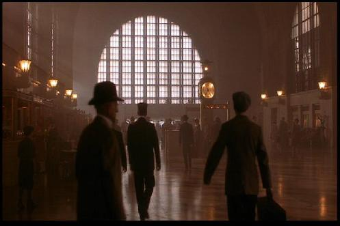 Image from the film: Roy Hobbs enters New York City through Grand Central Terminal, actually Buffalo Central Terminal (1983)