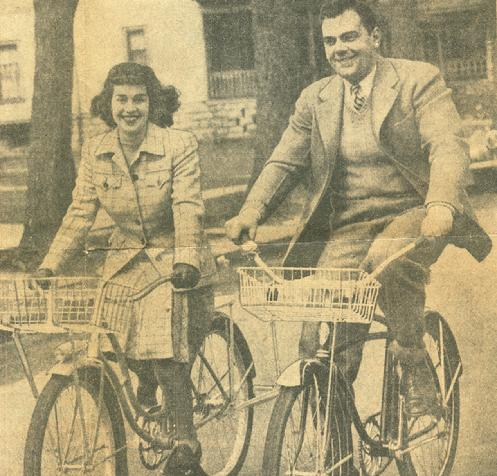 Bob & Mary Oshei promote the use of bicycles during World War II in this Buffalo Evening News picture from April 10, 1942