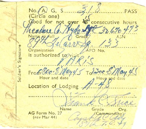 "Hyde spent VE (Victory in Europe) Day in Paris....not a bad place to celebrate triumph over the Third Reich. The image is his ""leave"" pass for May 8, 1945 - Paris"